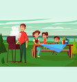 family barbecue picnic cartoon vector image vector image