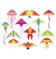 flying paper kites kitesurfing hobicons vector image vector image