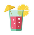 fresh pink cocktail with lemon slice and yellow vector image vector image
