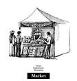 hand drawn sketch farmers market bazaar stall vector image vector image