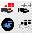 hand offer bricks eps icon with contour vector image
