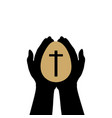 hands hold easter egg with cross vector image vector image