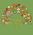 happy birthday card with childrens icon set - toys vector image vector image