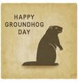 happy groundhog day card vintage background vector image vector image