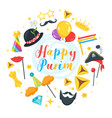 happy purim celebration layout template vector image vector image