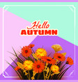 hello autumn flowers fall leaves banner vector image vector image