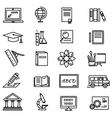 Lines Education Icons on White Background vector image vector image