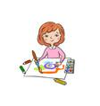 little girl draws paints vector image