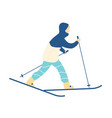 man in snowsuit taking part in race cross-country vector image vector image