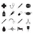medical icons black vector image vector image