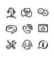 naive style icon set call center concept vector image vector image