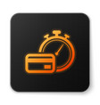 orange glowing fast payments icon isolated on vector image vector image