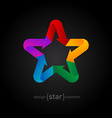 Origami rainbow Star on black background vector image vector image