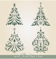 Ornate Christmas Trees vector image vector image