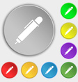 pen icon sign Symbol on eight flat buttons vector image vector image