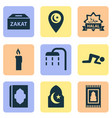 religion icons set with islam namaz ghusl and vector image vector image