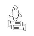 rocket speed hand commitment teamwork together vector image vector image