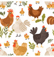 seamless pattern with cute roosters chickens vector image vector image