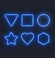set blue glowing neon frames on dark background vector image
