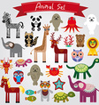 Set of funny cartoon animals on a white background vector image vector image
