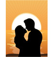 silhouettes of loving couple at sunset vector image vector image