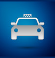 silver taxi car icon isolated on blue background vector image