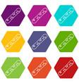 snowboard icon set color hexahedron vector image vector image