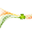 St Patrick Day wavy background with Irish colors vector image vector image