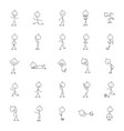 stick man icon outline style vector image