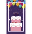 sweet cake birthday with balloons helium vector image