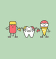 teeth are smudged from ice cream decay tooth vector image vector image