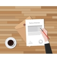 tos terms of service hand sign a paper document vector image vector image