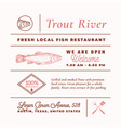 trout river restaurant signs titles inscriptions vector image vector image