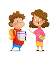 two multiracial children studying vector image