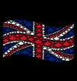 waving british flag mosaic of submarine tour icons vector image