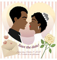wedding card with young african american couple vector image vector image
