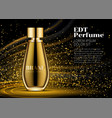 woman parfume realistic gold bottle mockup on vector image