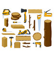 woodwork tools lumber industry wood material tree vector image