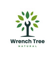 wrench tree leaf service logo icon vector image