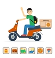 Man on scooter delivery vector image