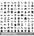 100 fashion icons set in simple style vector image
