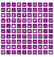 100 tension icons set grunge purple vector image