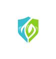 abstract shield eco protection logo vector image