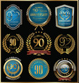 anniversary gold and blue labels collection 90 vector image vector image