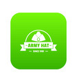 army hat icon green vector image vector image