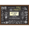 BBQ invitation on chalkboard vector image vector image