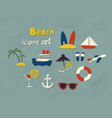 beach hand drawn icons vector image