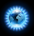 Blue flame around the planet earth vector image