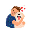 boy hug dog vector image vector image