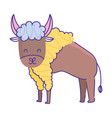 buffalo animal cartoon doodle color on white vector image